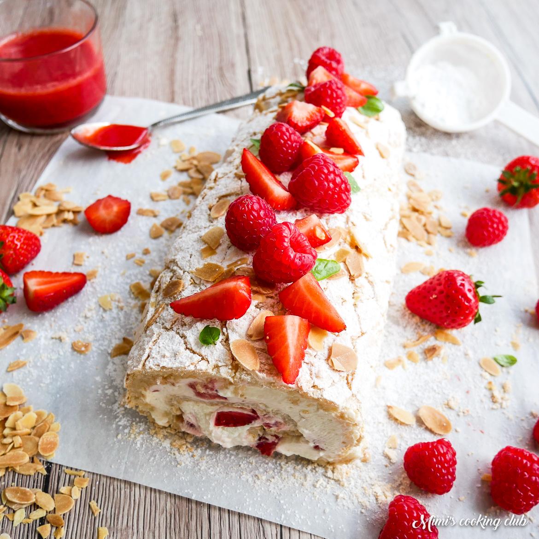 roulade meringuée fraises amandes